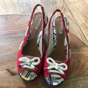 Sperry Top-Sider 8 red canvas/leather/cork wedges